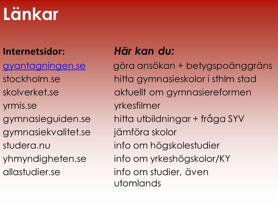 Länkar Internetsidor: Här kan du: gyantagningen.segyantagningen.se göra ansökan + betygspoänggräns stockholm.se hitta gymnasieskolor i sthlm stad skol