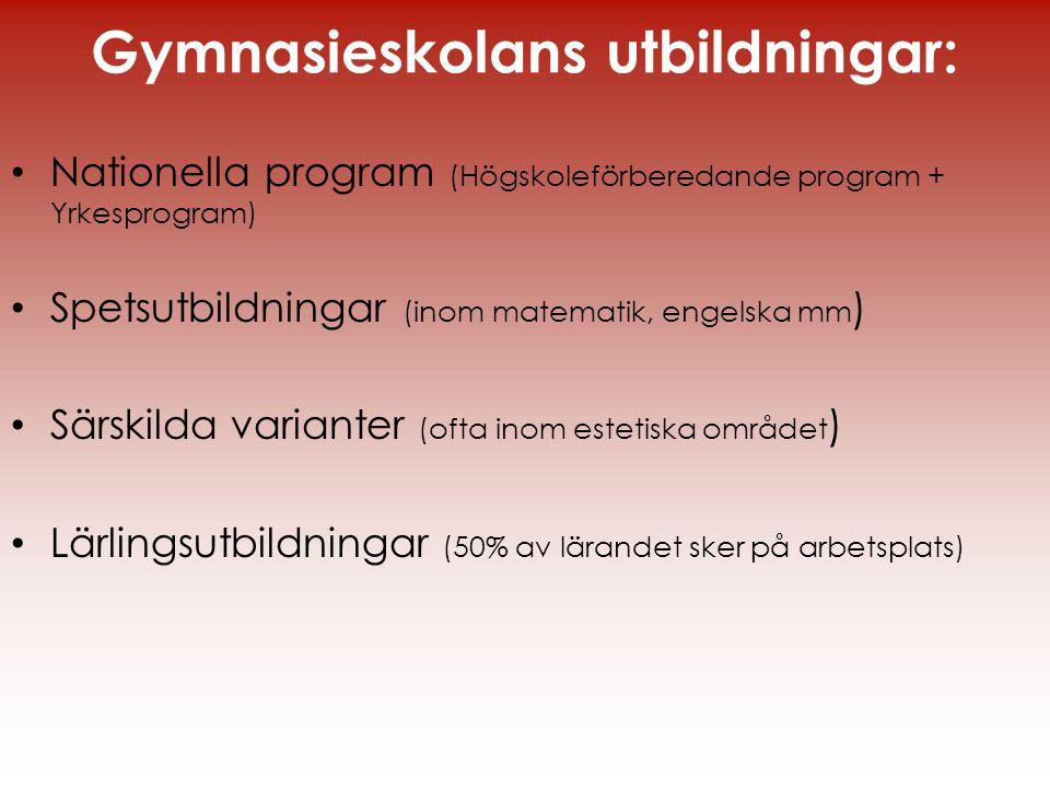 Gymnasieskolans utbildningar: • Nationella program (Högskoleförberedande program + Yrkesprogram) • Spetsutbildningar (inom matematik, engelska mm ) •