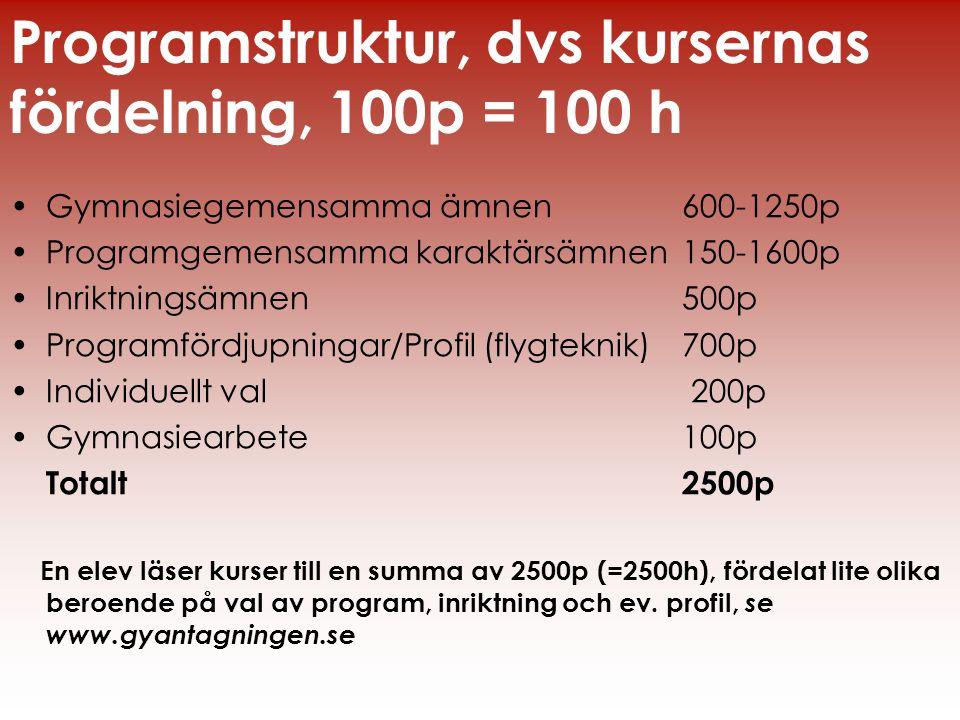 •Gymnasiegemensamma ämnen 600-1250p •Programgemensamma karaktärsämnen 150-1600p •Inriktningsämnen 500p •Programfördjupningar/Profil (flygteknik)700p •
