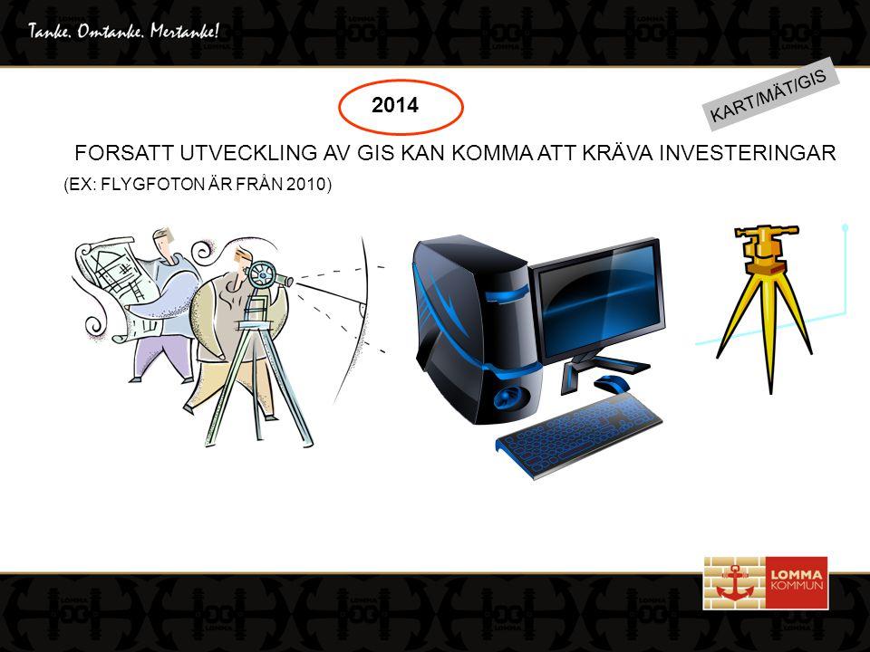 KART/MÄT/GIS 2014 FORSATT UTVECKLING AV GIS KAN KOMMA ATT KRÄVA INVESTERINGAR (EX: FLYGFOTON ÄR FRÅN 2010)