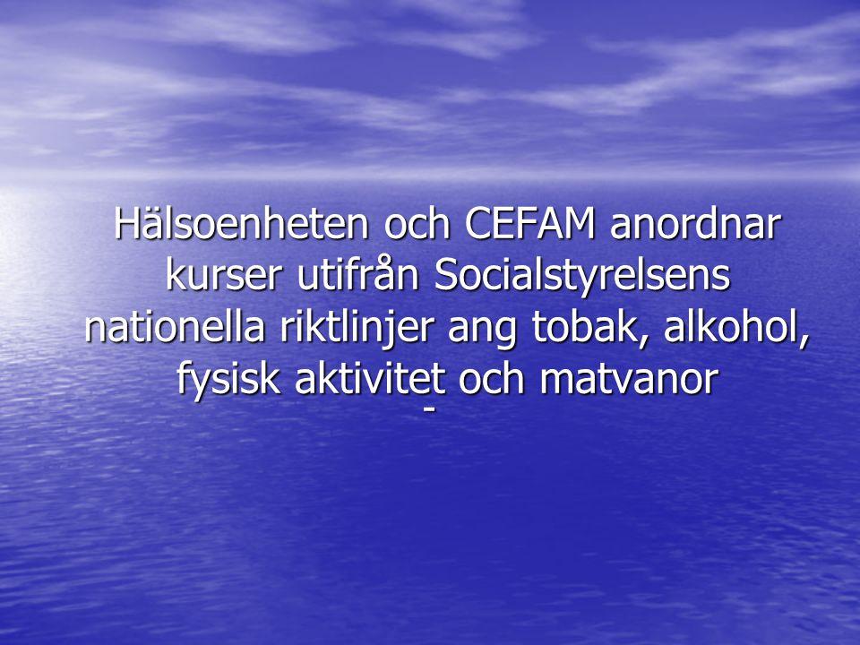 Hälsoenheten och CEFAM anordnar kurser utifrån Socialstyrelsens nationella riktlinjer ang tobak, alkohol, fysisk aktivitet och matvanor -