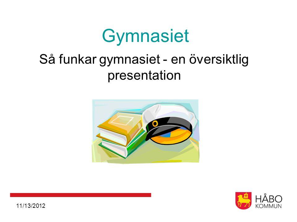 11/13/2012 Gymnasiet Så funkar gymnasiet - en översiktlig presentation