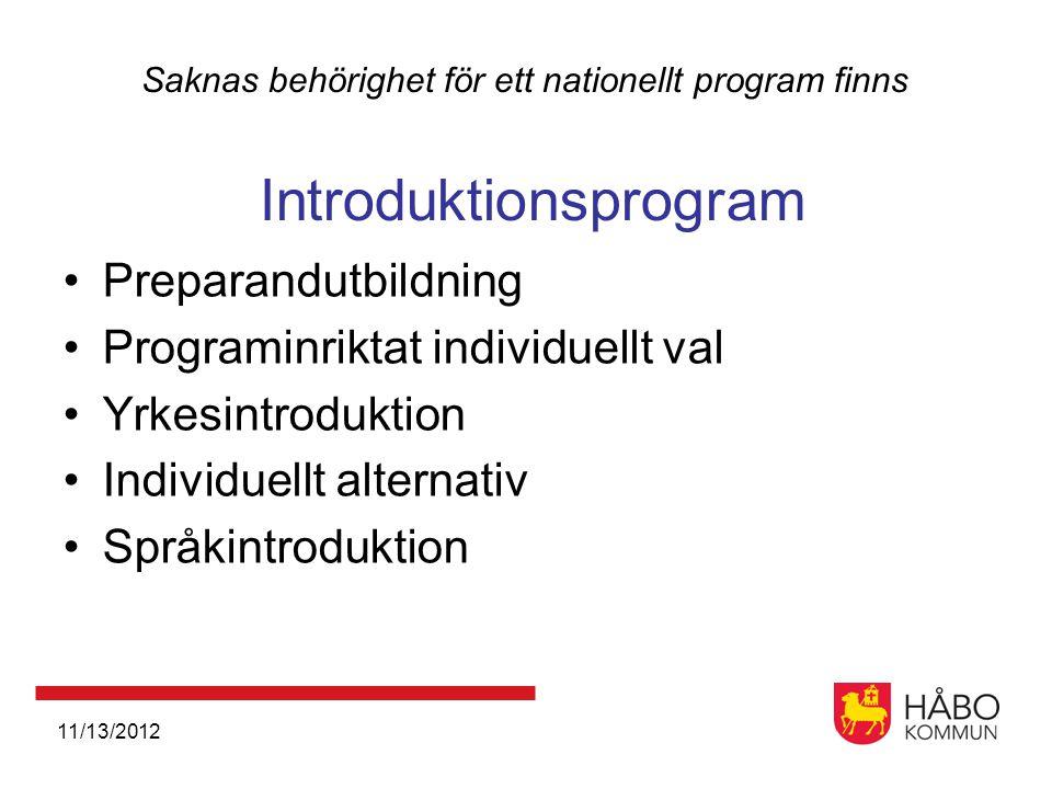11/13/2012 Saknas behörighet för ett nationellt program finns Introduktionsprogram •Preparandutbildning •Programinriktat individuellt val •Yrkesintroduktion •Individuellt alternativ •Språkintroduktion