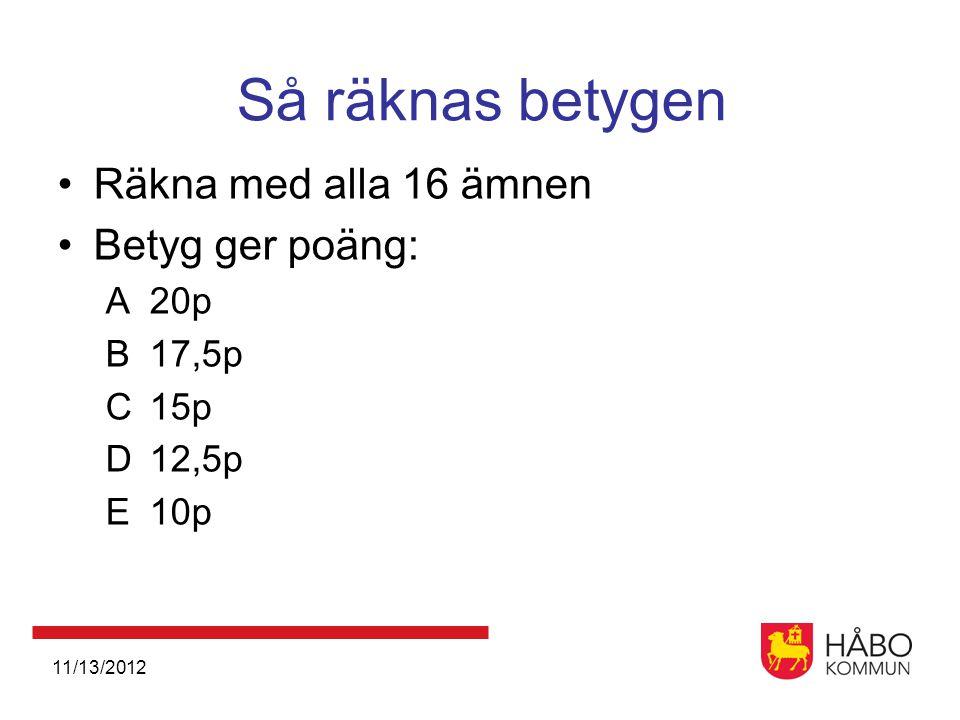 11/13/2012 Så räknas betygen •Räkna med alla 16 ämnen •Betyg ger poäng: A20p B17,5p C15p D12,5p E10p