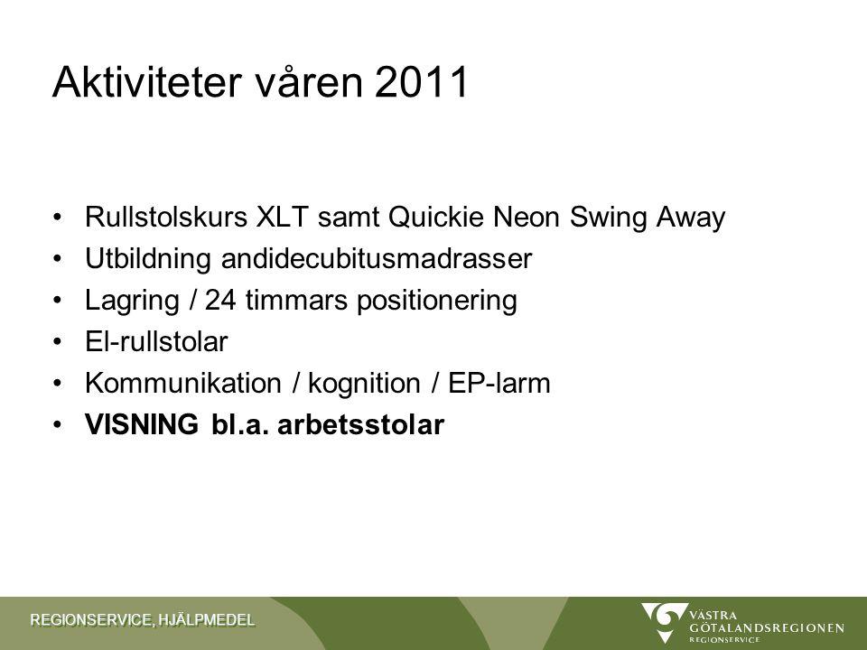 REGIONSERVICE, HJÄLPMEDEL Aktiviteter våren 2011 •Rullstolskurs XLT samt Quickie Neon Swing Away •Utbildning andidecubitusmadrasser •Lagring / 24 timm