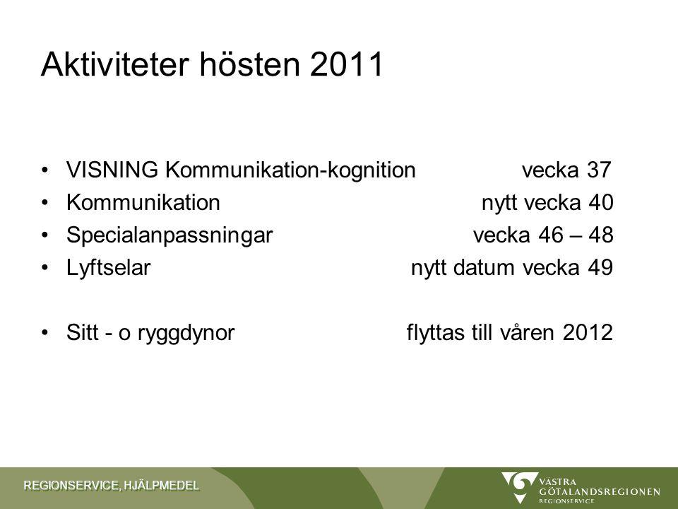 REGIONSERVICE, HJÄLPMEDEL På planeringsstadiet …….