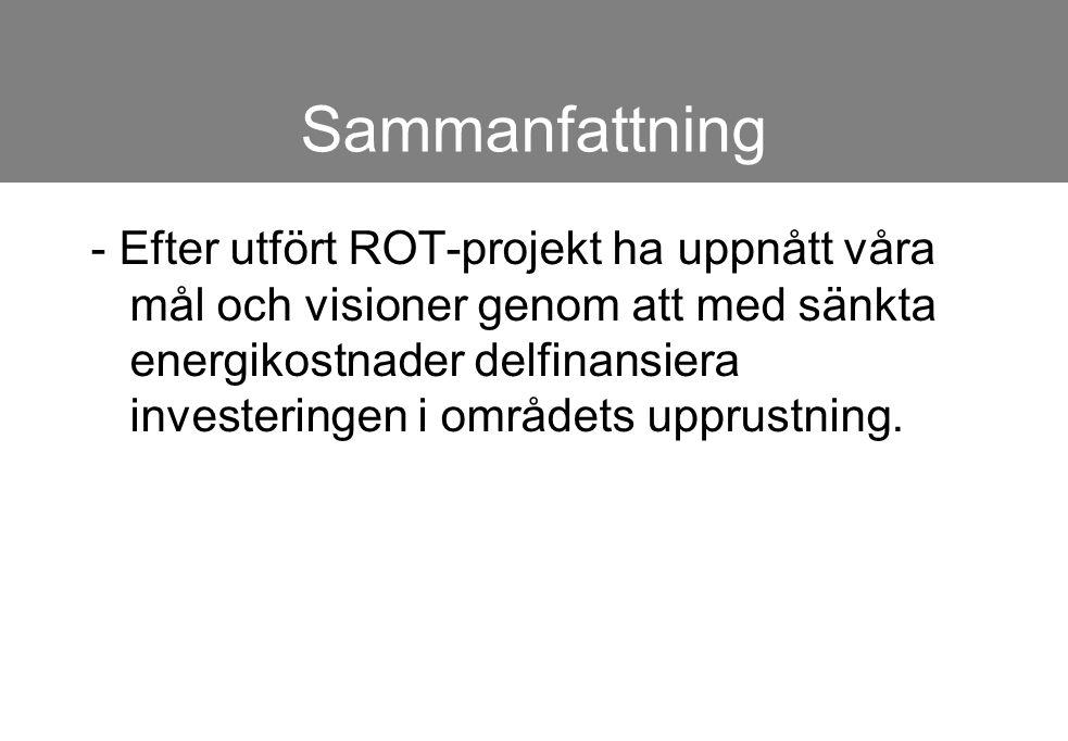 Sammanfattning - Efter utfört ROT-projekt ha uppnått våra mål och visioner genom att med sänkta energikostnader delfinansiera investeringen i områdets