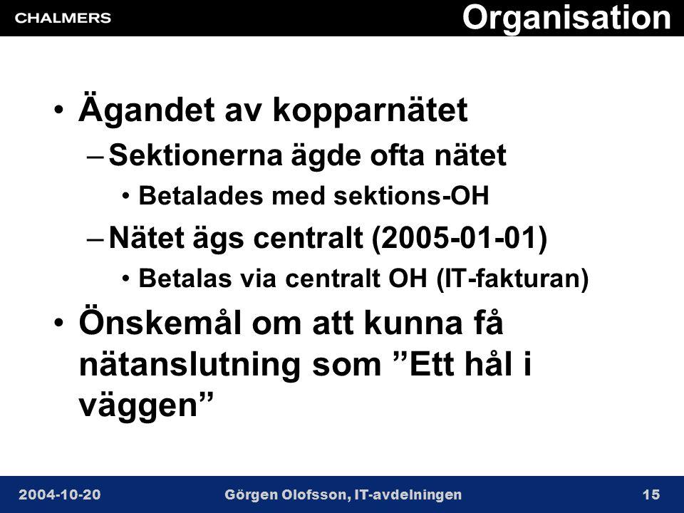 2004-10-20Görgen Olofsson, IT-avdelningen15 Organisation •Ägandet av kopparnätet –Sektionerna ägde ofta nätet •Betalades med sektions-OH –Nätet ägs centralt (2005-01-01) •Betalas via centralt OH (IT-fakturan) •Önskemål om att kunna få nätanslutning som Ett hål i väggen