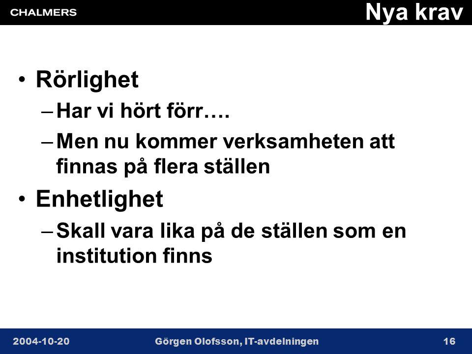 2004-10-20Görgen Olofsson, IT-avdelningen16 Nya krav •Rörlighet –Har vi hört förr….
