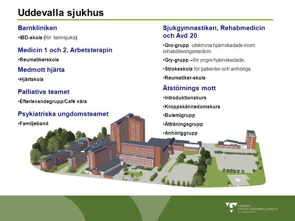 Uddevalla sjukhus Barnkliniken •IBD-skola (för tarmsjuka) Medicin 1 och 2, Arbetsterapin •Reumatikerskola Sjukgymnastiken, Rehabmedicin och Avd 20 •Gr