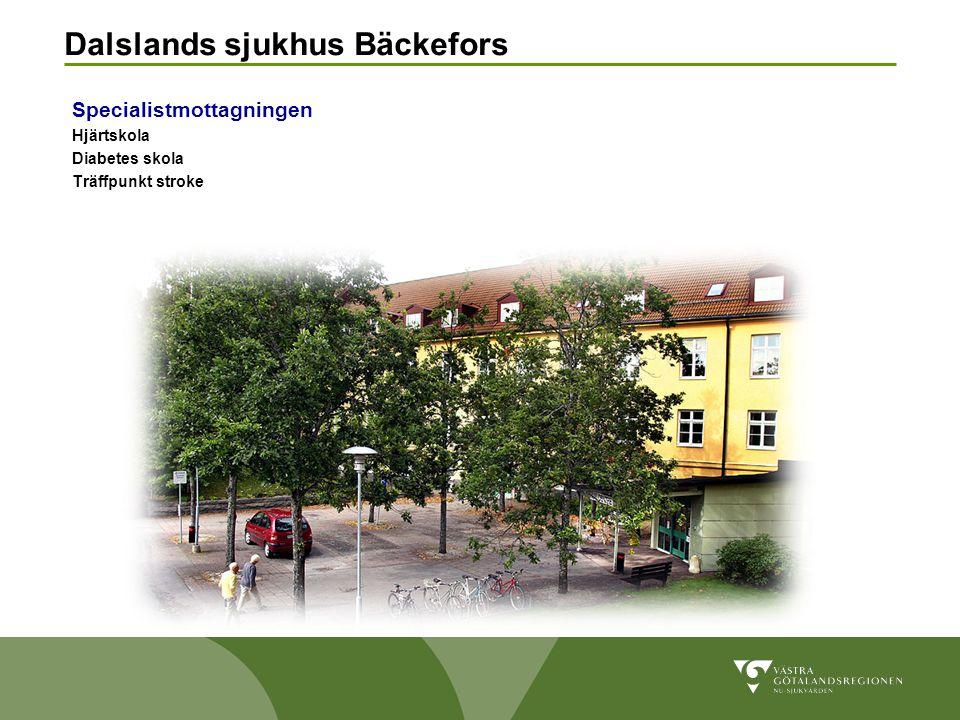 Dalslands sjukhus Bäckefors Specialistmottagningen Hjärtskola Diabetes skola Träffpunkt stroke