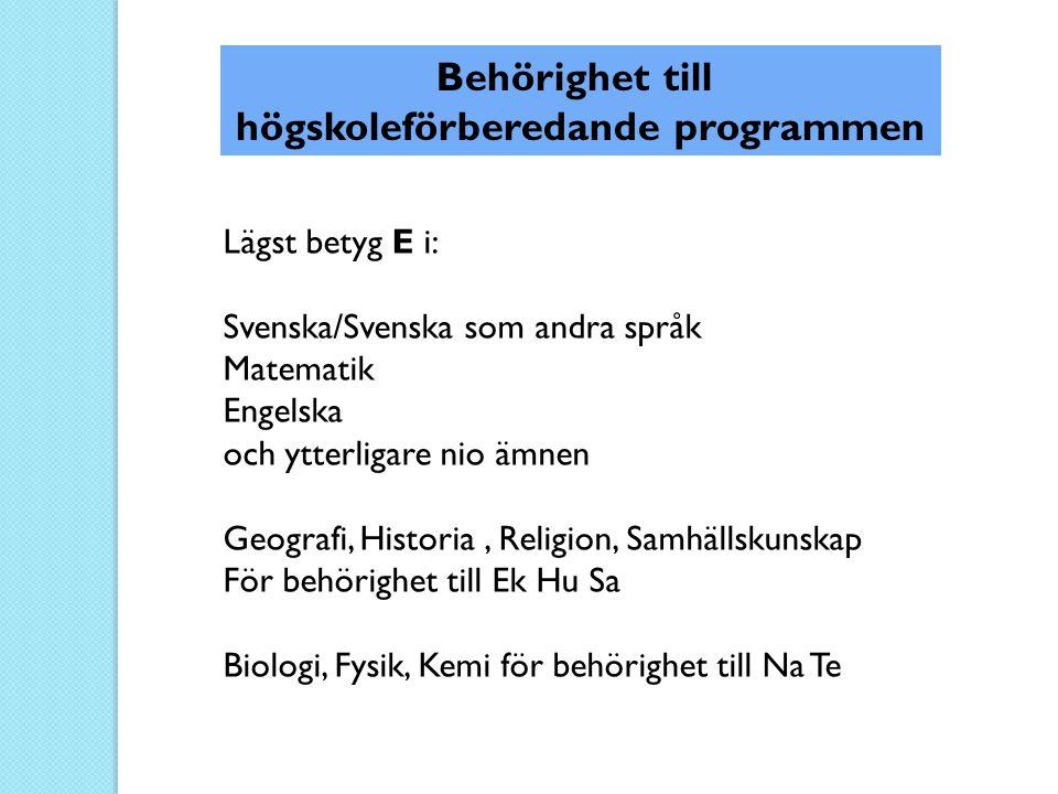 Behörighet till högskoleförberedande programmen Lägst betyg E i: Svenska/Svenska som andra språk Matematik Engelska och ytterligare nio ämnen Geografi
