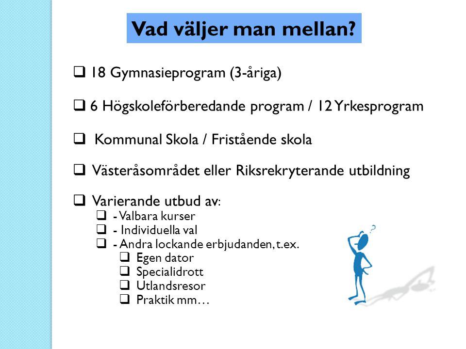 Vad väljer man mellan?  18 Gymnasieprogram (3-åriga)  6 Högskoleförberedande program / 12 Yrkesprogram  Kommunal Skola / Fristående skola  Västerå