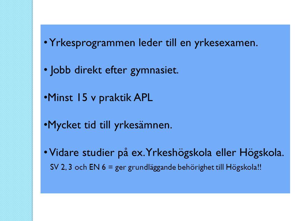 • Yrkesprogrammen leder till en yrkesexamen. • Jobb direkt efter gymnasiet. • Minst 15 v praktik APL • Mycket tid till yrkesämnen. • Vidare studier på