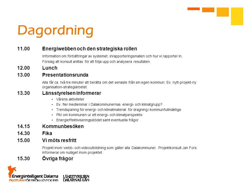 Dagordning 11.00Energiwebben och den strategiska rollen Information om förbättringar av systemet, inrapporteringsmallen och hur vi rapporter in.
