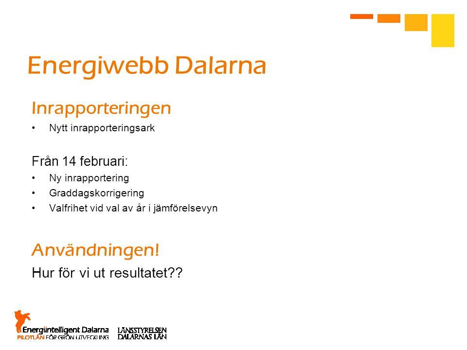 Energiwebb Dalarna Inrapporteringen •Nytt inrapporteringsark Från 14 februari: •Ny inrapportering •Graddagskorrigering •Valfrihet vid val av år i jämförelsevyn Användningen.