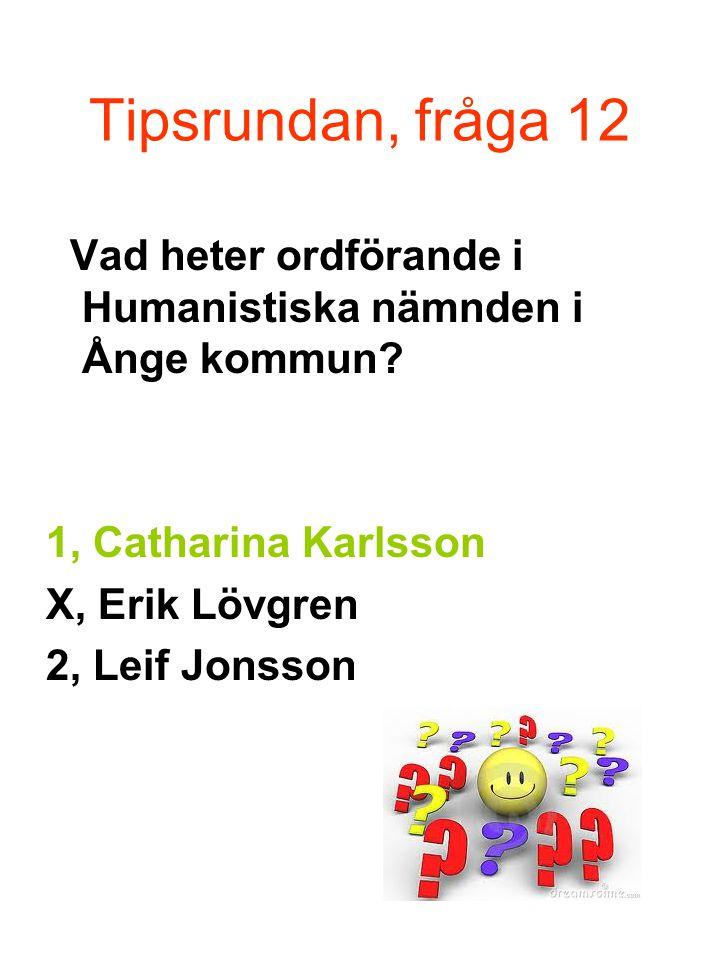 Tipsrundan, fråga 12 Vad heter ordförande i Humanistiska nämnden i Ånge kommun.