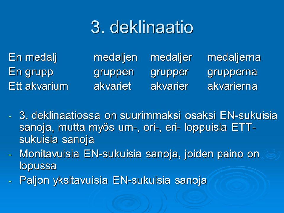 3. deklinaatio En medaljmedaljenmedaljermedaljerna En gruppgruppengruppergrupperna Ett akvariumakvarietakvarierakvarierna - 3. deklinaatiossa on suuri
