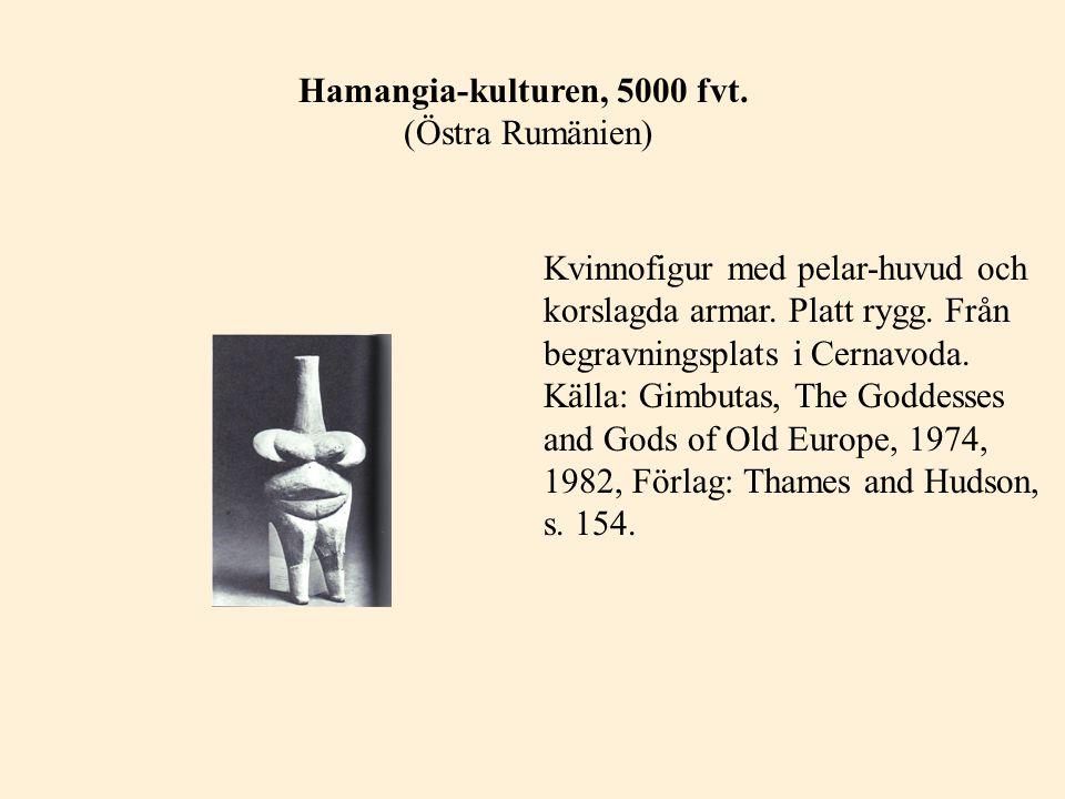 Hamangia-kulturen, 5000 fvt. (Östra Rumänien) Kvinnofigur med pelar-huvud och korslagda armar. Platt rygg. Från begravningsplats i Cernavoda. Källa: G