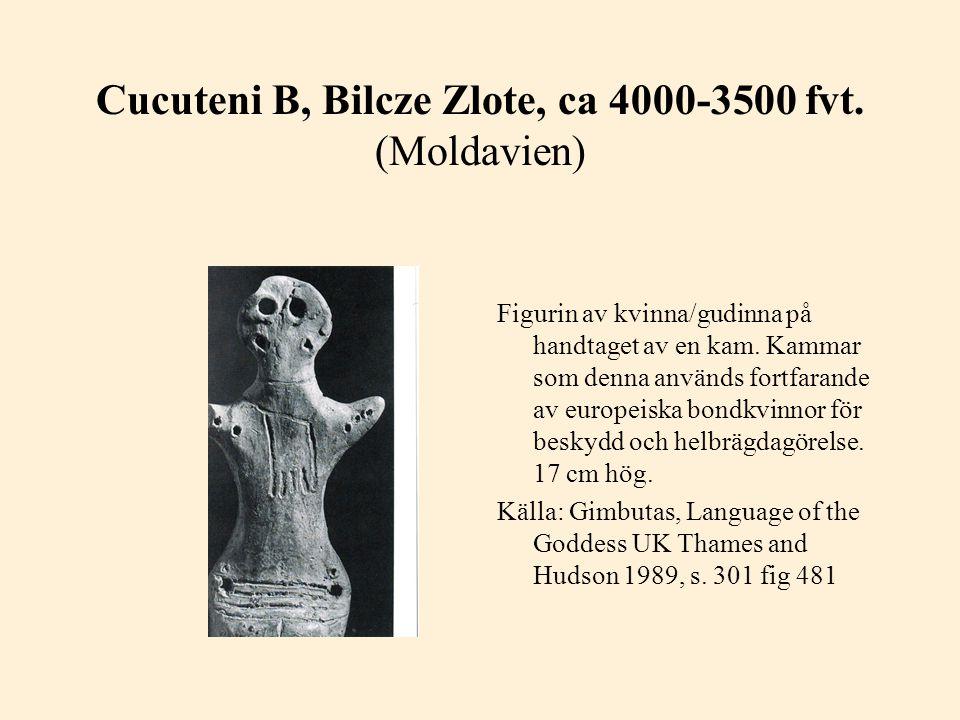Cucuteni B, Bilcze Zlote, ca 4000-3500 fvt. (Moldavien) Figurin av kvinna/gudinna på handtaget av en kam. Kammar som denna används fortfarande av euro