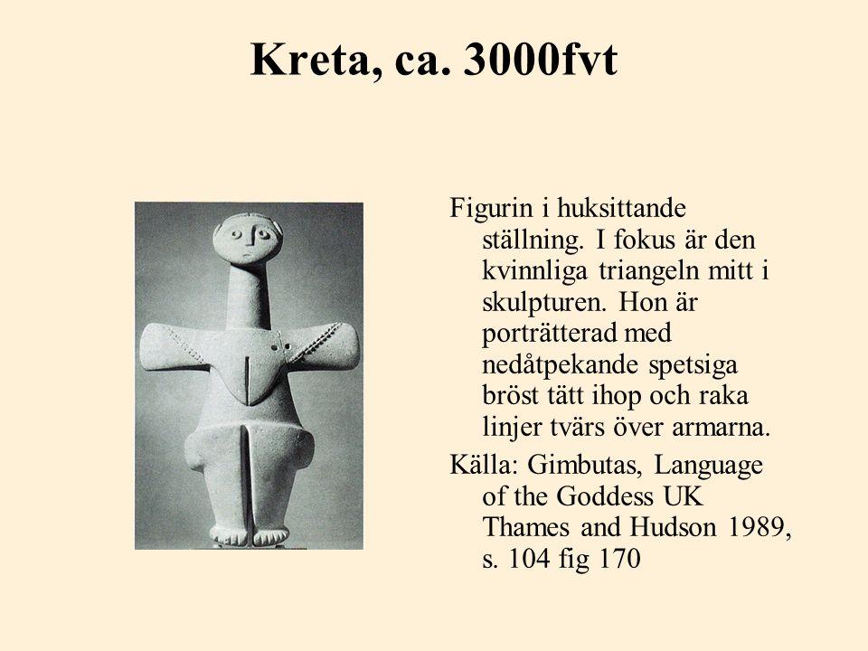 Kreta, ca. 3000fvt Figurin i huksittande ställning. I fokus är den kvinnliga triangeln mitt i skulpturen. Hon är porträtterad med nedåtpekande spetsig