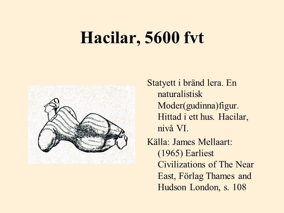 Hacilar, 5600 fvt Statyett i bränd lera. En naturalistisk Moder(gudinna)figur. Hittad i ett hus. Hacilar, nivå VI. Källa: James Mellaart: (1965) Earli