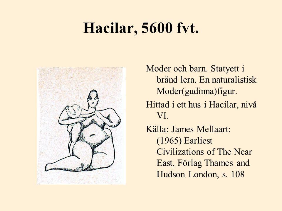 Hacilar, 5600 fvt. Moder och barn. Statyett i bränd lera. En naturalistisk Moder(gudinna)figur. Hittad i ett hus i Hacilar, nivå VI. Källa: James Mell