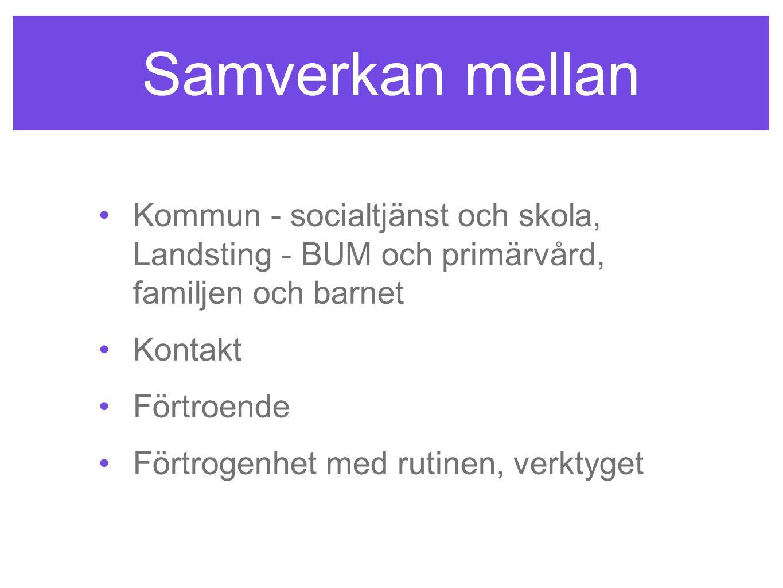 Samverkan mellan •Kommun - socialtjänst och skola, Landsting - BUM och primärvård, familjen och barnet •Kontakt •Förtroende •Förtrogenhet med rutinen,