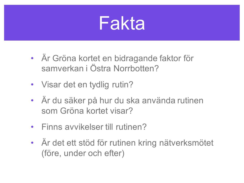 Fakta •Är Gröna kortet en bidragande faktor för samverkan i Östra Norrbotten? •Visar det en tydlig rutin? •Är du säker på hur du ska använda rutinen s