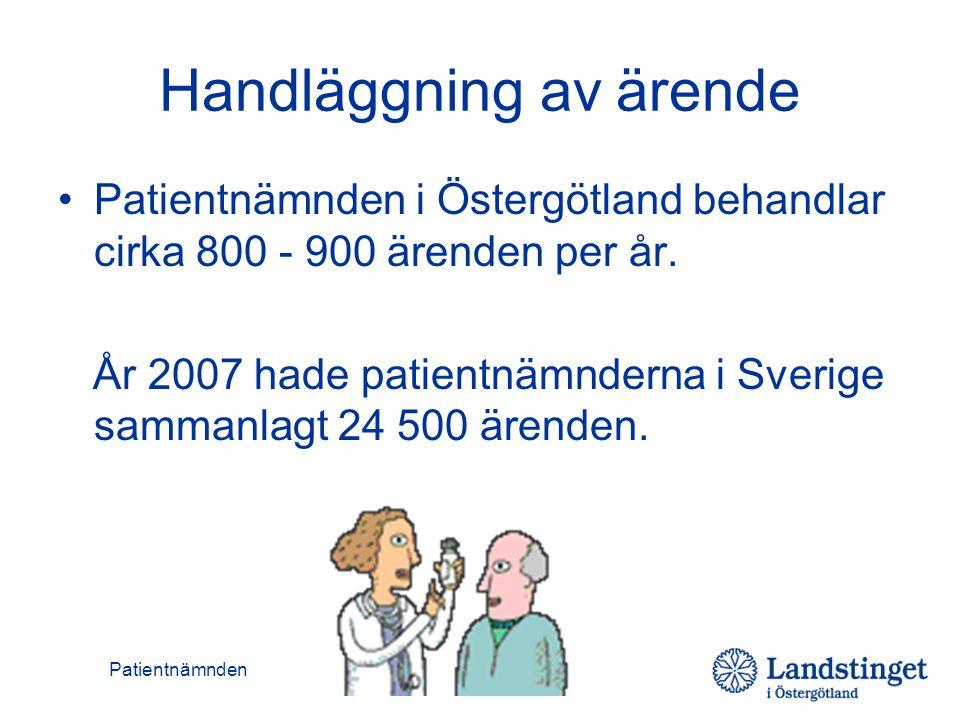 Patientnämnden Handläggning av ärende •Patientnämnden i Östergötland behandlar cirka 800 - 900 ärenden per år. År 2007 hade patientnämnderna i Sverige