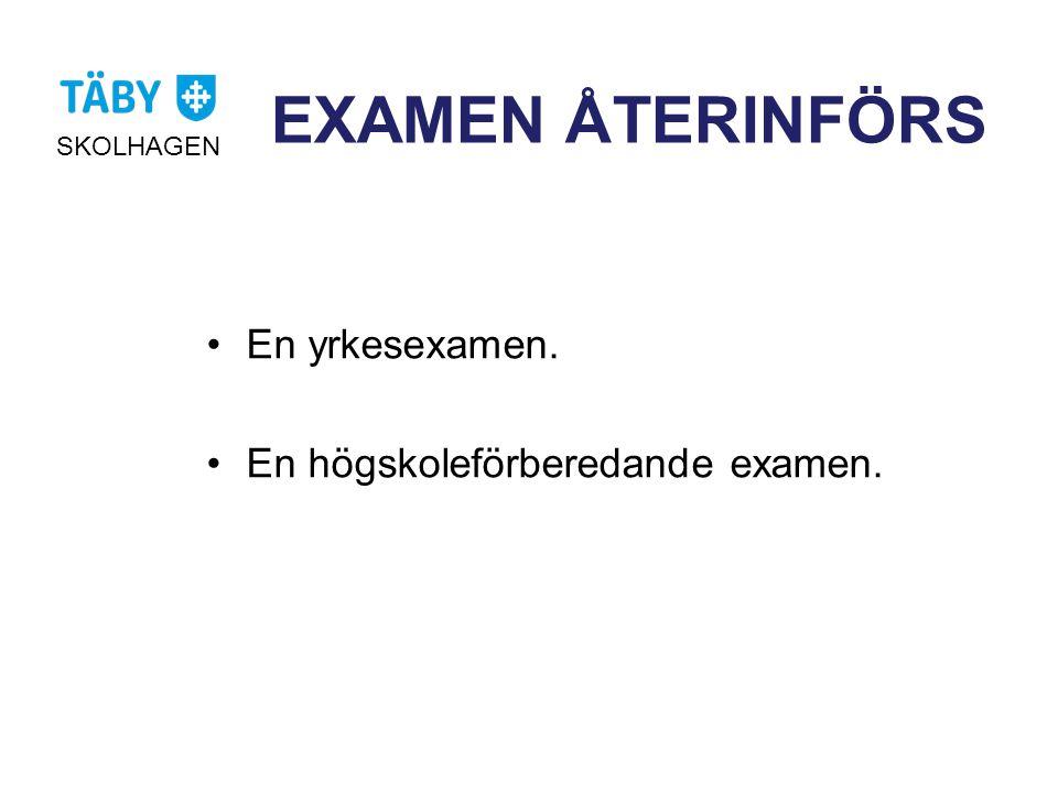 EXAMEN ÅTERINFÖRS SKOLHAGEN •En yrkesexamen. •En högskoleförberedande examen.