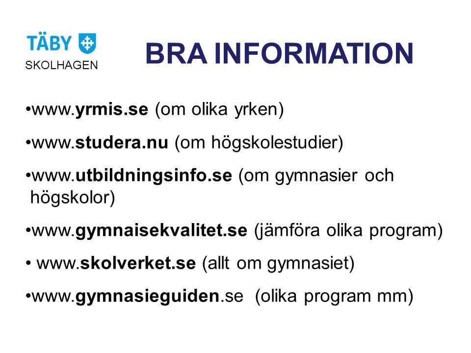 BRA INFORMATION SKOLHAGEN •www.yrmis.se (om olika yrken) •www.studera.nu (om högskolestudier) •www.utbildningsinfo.se (om gymnasier och högskolor) •www.gymnaisekvalitet.se (jämföra olika program) • www.skolverket.se (allt om gymnasiet) •www.gymnasieguiden.se (olika program mm)