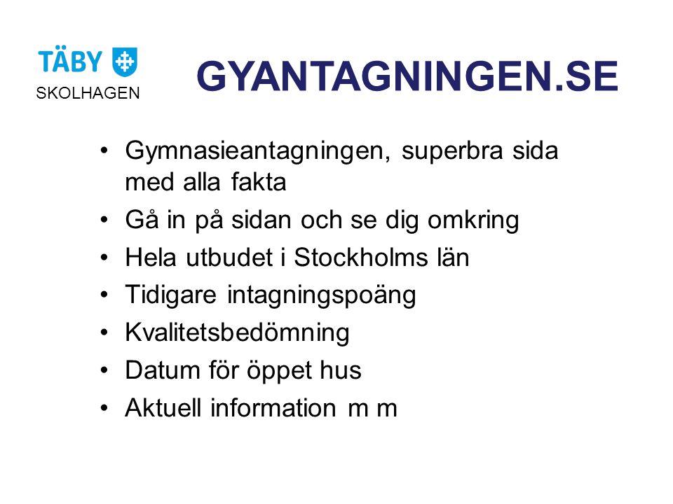 GYANTAGNINGEN.SE SKOLHAGEN •Gymnasieantagningen, superbra sida med alla fakta •Gå in på sidan och se dig omkring •Hela utbudet i Stockholms län •Tidig