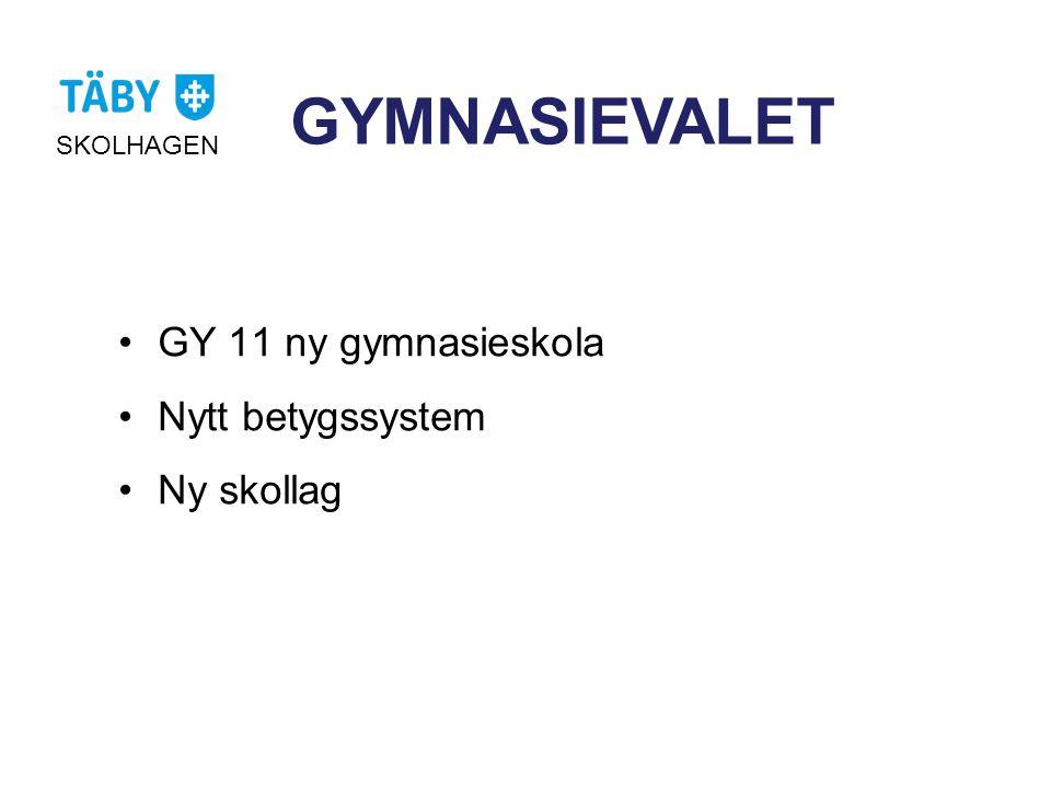 GYMNASIEVALET •GY 11 ny gymnasieskola •Nytt betygssystem •Ny skollag SKOLHAGEN