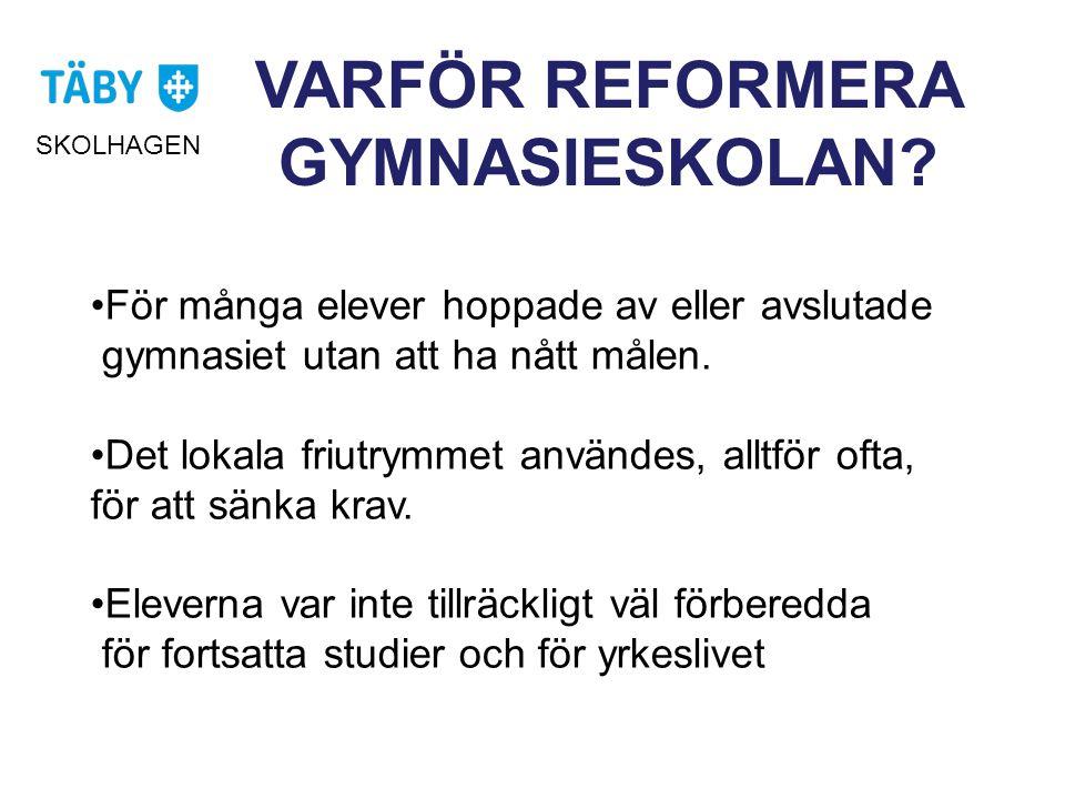 VARFÖR REFORMERA GYMNASIESKOLAN.