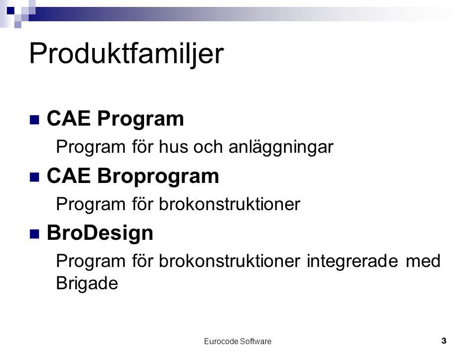 Eurocode Software3 Produktfamiljer  CAE Program Program för hus och anläggningar  CAE Broprogram Program för brokonstruktioner  BroDesign Program för brokonstruktioner integrerade med Brigade