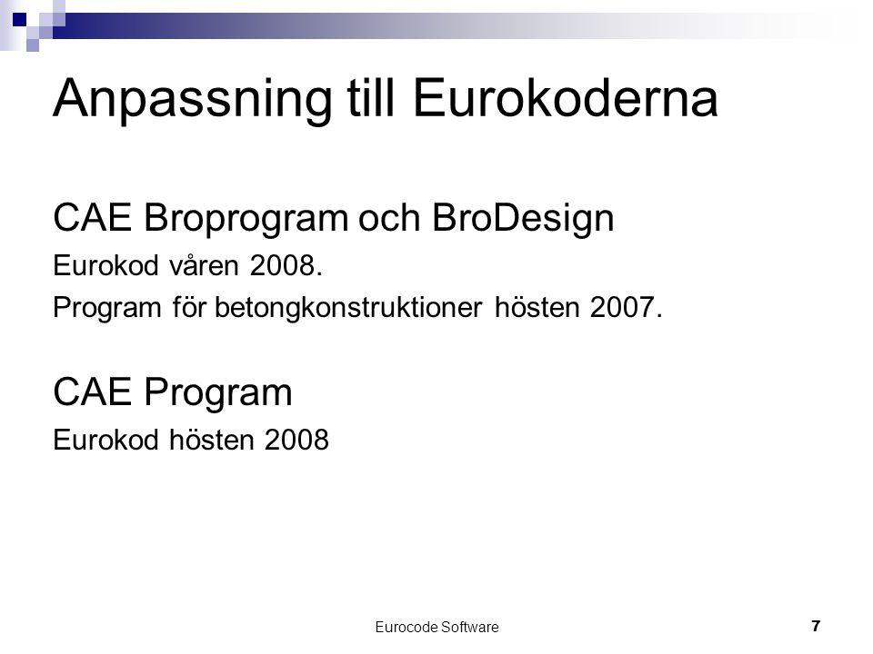 Eurocode Software7 Anpassning till Eurokoderna CAE Broprogram och BroDesign Eurokod våren 2008. Program för betongkonstruktioner hösten 2007. CAE Prog