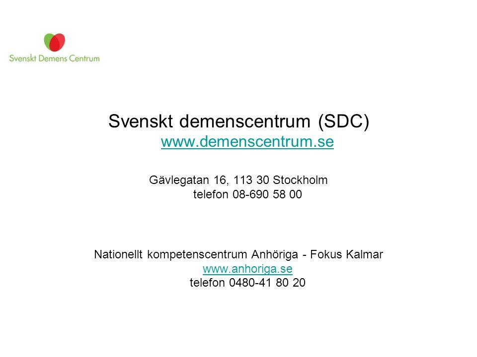 Svenskt demenscentrum (SDC) www.demenscentrum.se www.demenscentrum.se Gävlegatan 16, 113 30 Stockholm telefon 08-690 58 00 Nationellt kompetenscentrum