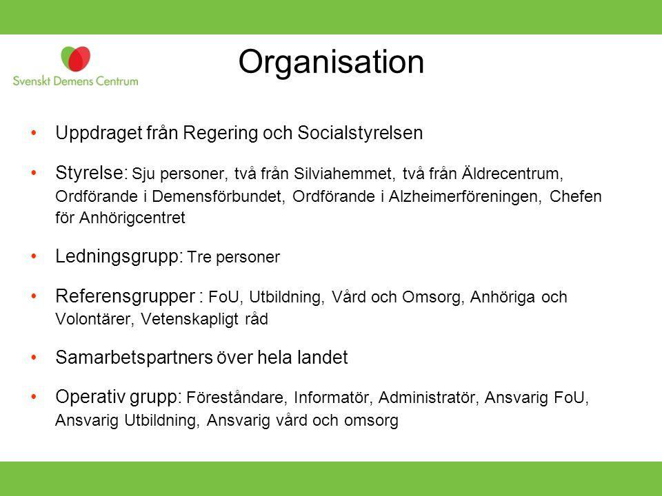 Organisation •Uppdraget från Regering och Socialstyrelsen •Styrelse: Sju personer, två från Silviahemmet, två från Äldrecentrum, Ordförande i Demensfö