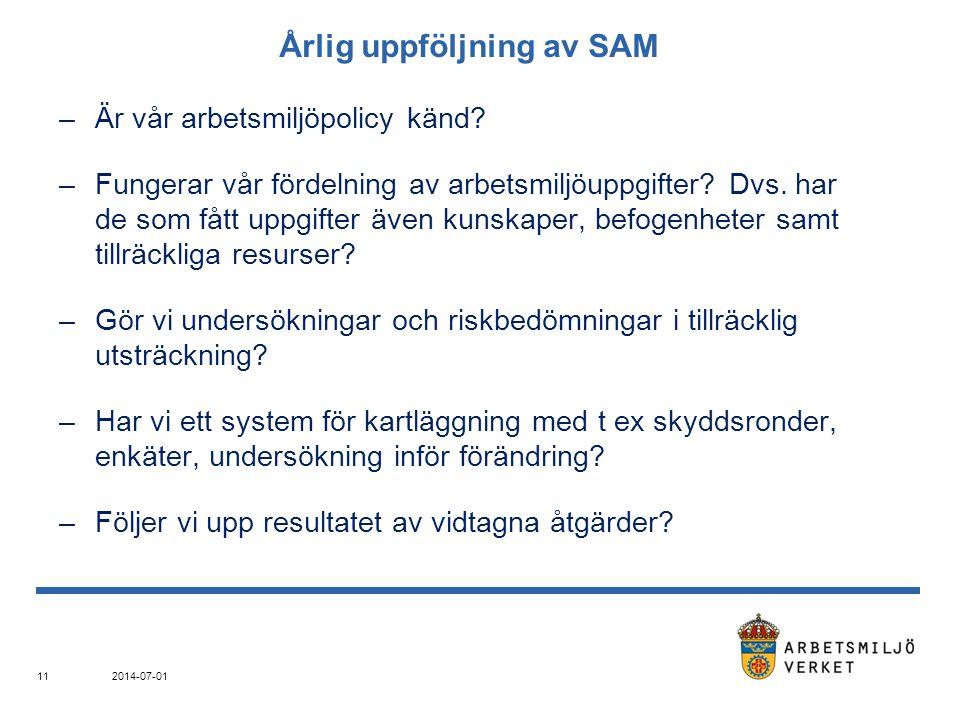 Årlig uppföljning av SAM –Är vår arbetsmiljöpolicy känd? –Fungerar vår fördelning av arbetsmiljöuppgifter? Dvs. har de som fått uppgifter även kunskap