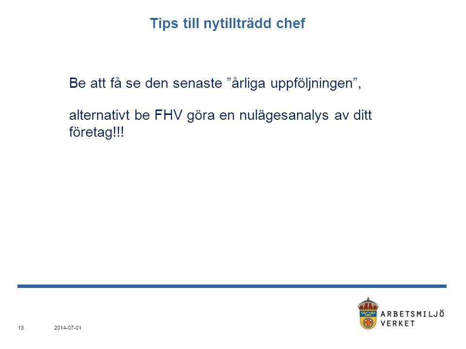 """Tips till nytillträdd chef Be att få se den senaste """"årliga uppföljningen"""", alternativt be FHV göra en nulägesanalys av ditt företag!!! 2014-07-01 13"""