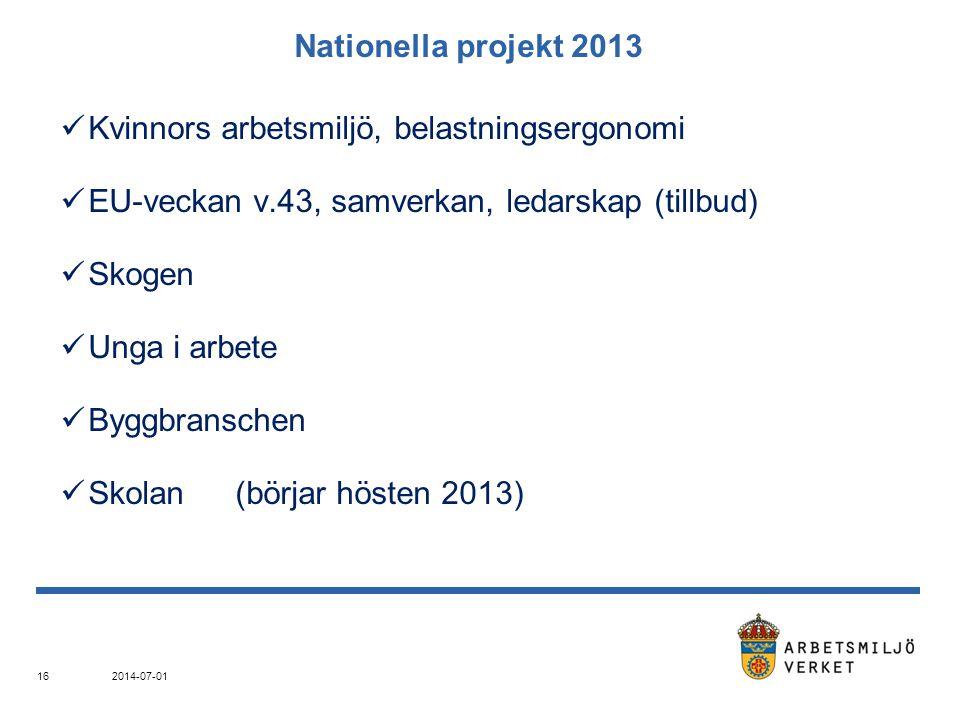Nationella projekt 2013  Kvinnors arbetsmiljö, belastningsergonomi  EU-veckan v.43, samverkan, ledarskap (tillbud)  Skogen  Unga i arbete  Byggbr