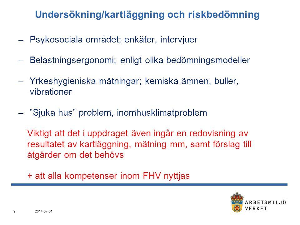 Utredning av tillbud, olyckor, sjukdomar –Händelseförlopp –Konkret orsak –Bakomliggande faktorer; SAM: kunskaper, rutiner, riskbedömning, uppföljning 2014-07-01 10