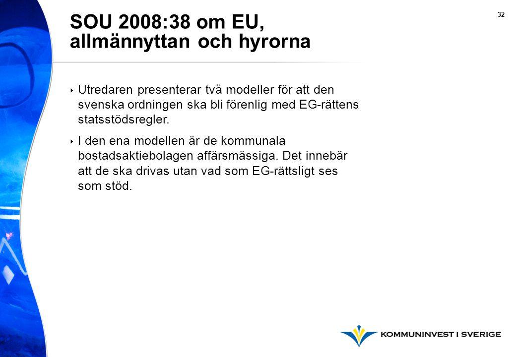 32 ‣ Utredaren presenterar två modeller för att den svenska ordningen ska bli förenlig med EG-rättens statsstödsregler.