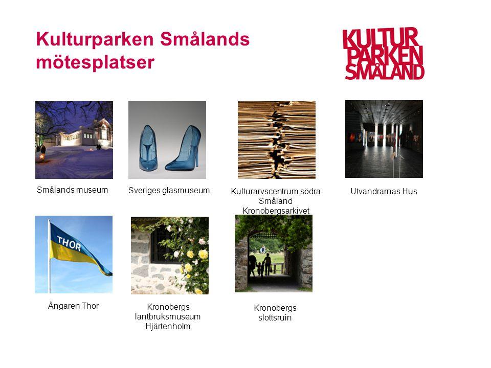 Kulturparken Smålands mötesplatser Smålands museum Sveriges glasmuseum Kulturarvscentrum södra Småland Kronobergsarkivet Utvandrarnas Hus Ångaren Thor