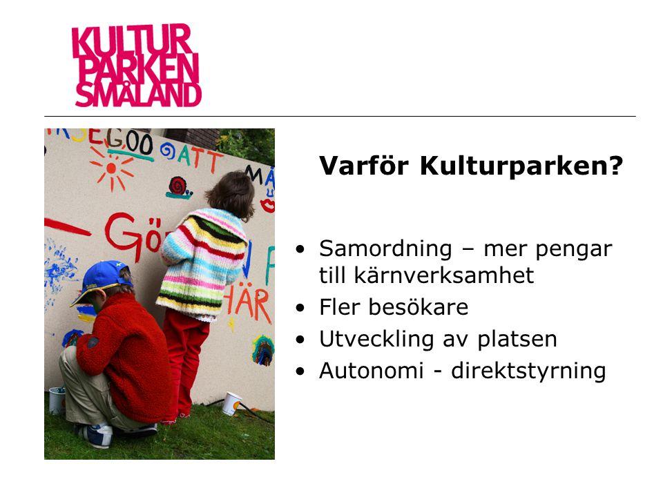 Varför Kulturparken? •Samordning – mer pengar till kärnverksamhet •Fler besökare •Utveckling av platsen •Autonomi - direktstyrning