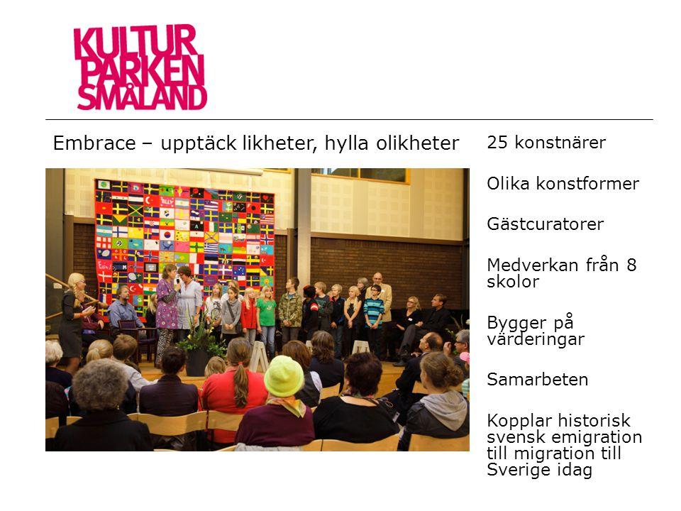 25 konstnärer Olika konstformer Gästcuratorer Medverkan från 8 skolor Bygger på värderingar Samarbeten Kopplar historisk svensk emigration till migrat