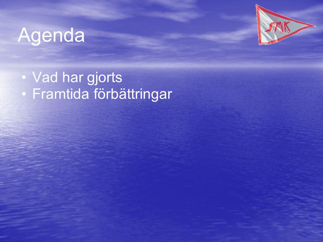 Agenda •Vad har gjorts •Framtida förbättringar