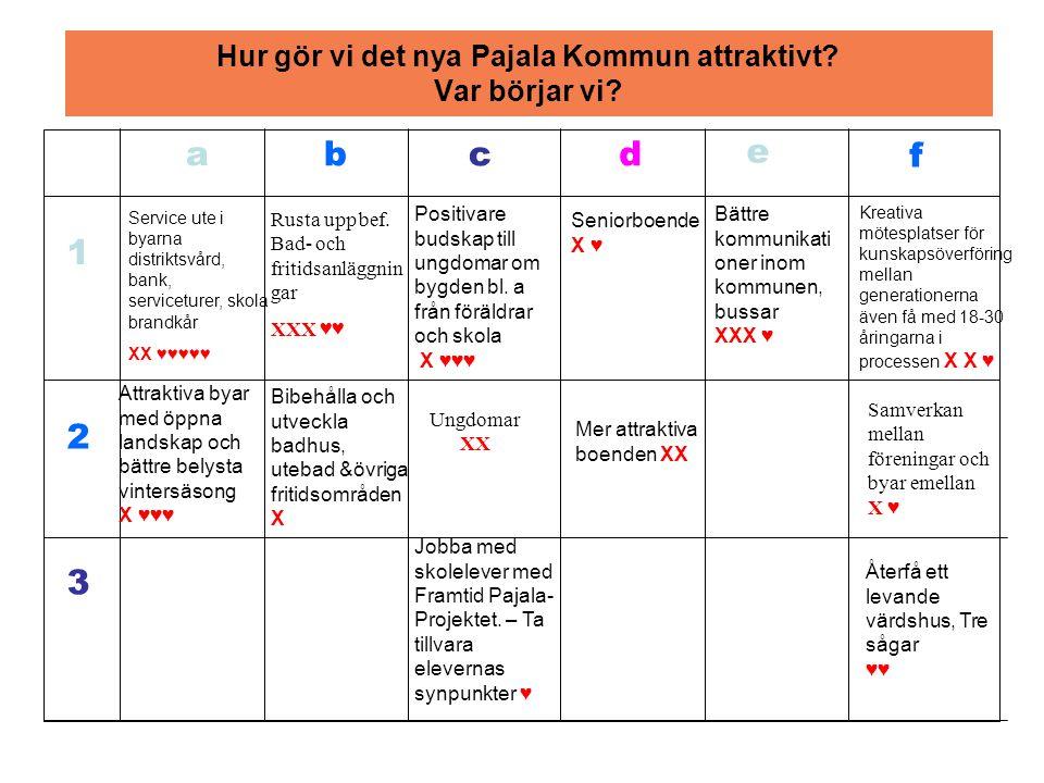 Hur gör vi det nya Pajala Kommun attraktivt. Var börjar vi.