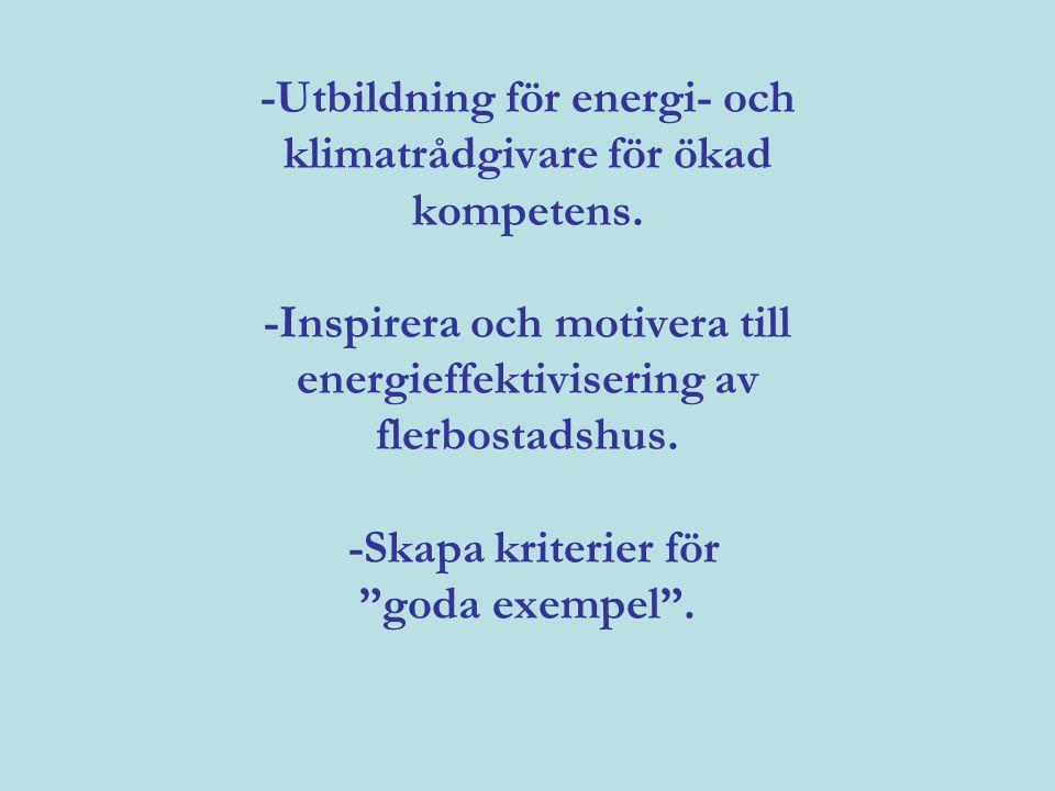 -Utbildning för energi- och klimatrådgivare för ökad kompetens.